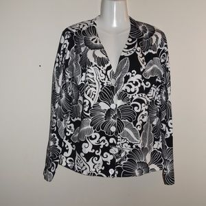 Talbots XL Black/White Floral Cardigan